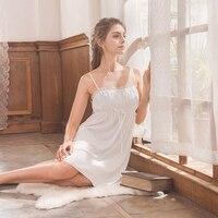 Roseheart Women Fashion White Sexy Sleepwear Spaghetti Strap Nightdress Lace Nightwear Sleepshirts Nightgown Sleepwear S M L XL