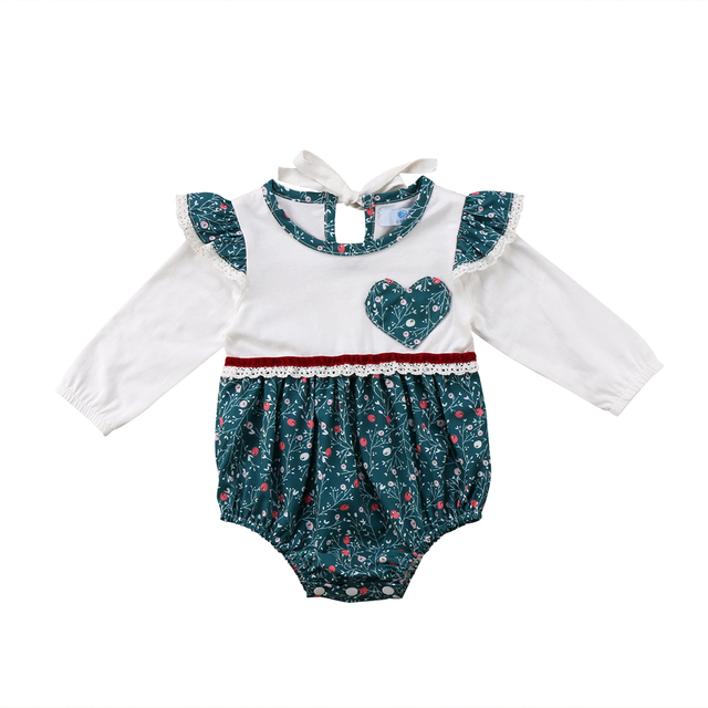 aa9565878565 Family Matching Outfits Baby Girl Floral Ruffles Romper Dress ...