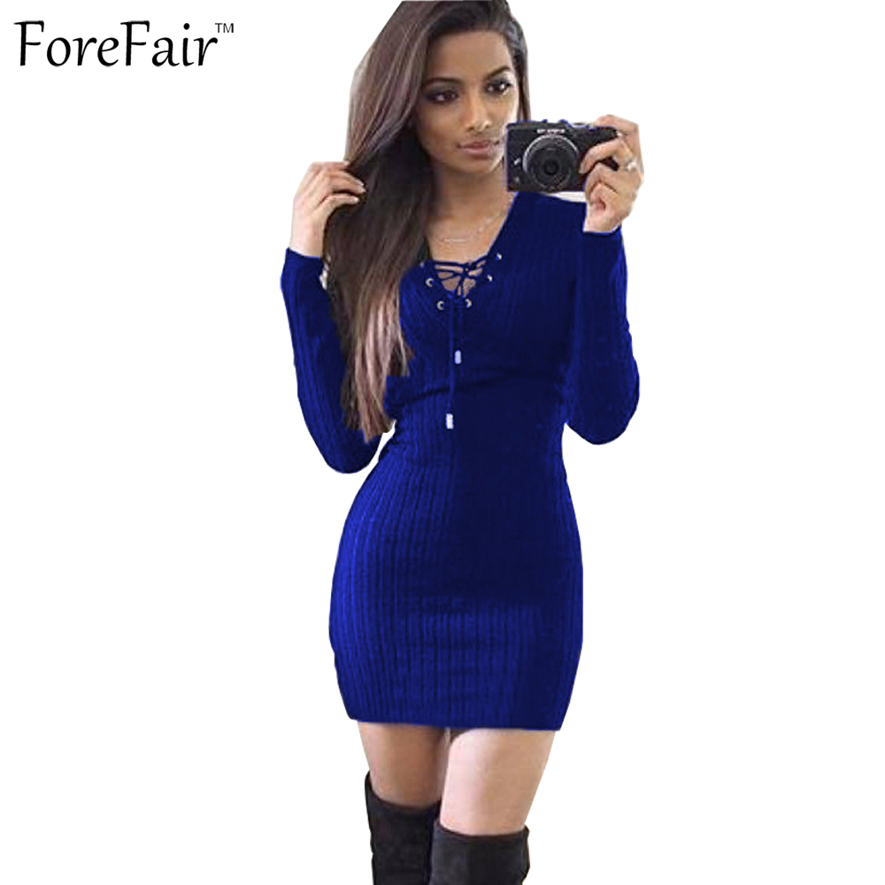 ForeFair Sexy V-neck Lacing Long Sleeve Bodycon Dress Knitted Autumn Winter Sweater Dress Plus Size Women Clothing forefair fashion slim knitted party dresses women clothing 2018 spring long sleeve sexy criss cross v neck bodycon dress vestido