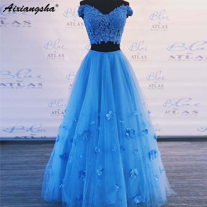 Blue   Prom     Dresses   2019 A-Line Cap Sleeve Lace Appliques Flowers Tulle Party Maxys Two Piece   Prom     Dress   Elegant Long Evening Gown