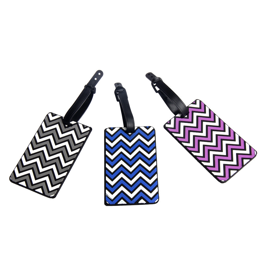 Travel Luggage Tags Address Infor Holder Silicone PVC Suitcase Identifier Accessories Wave Stripes Pattern Mini Luggage Label