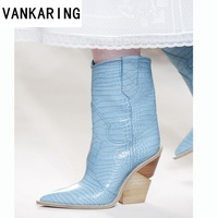 brand embossed microfiber leather high heels ankle boots for women pointed toe cowboy boots women mid calf wedges boots runway