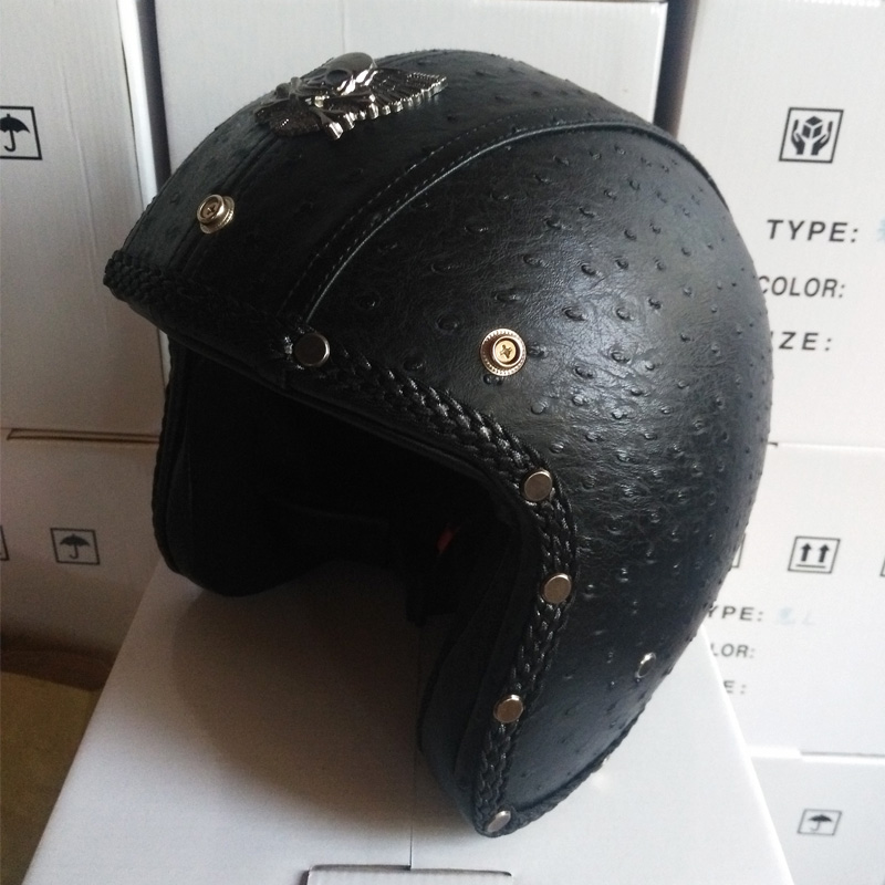 New Design Vintage Black Leather Open Face 3 4 Motorcycle font b Helmets b font With