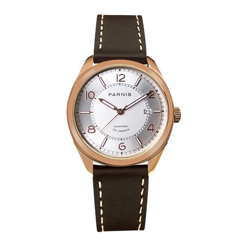 Parnis 42MM Gold Case Mechanical Automatic Men Watches Luminous Leather Band Diver Men\'s Watch reloj automatico de hombre Clock