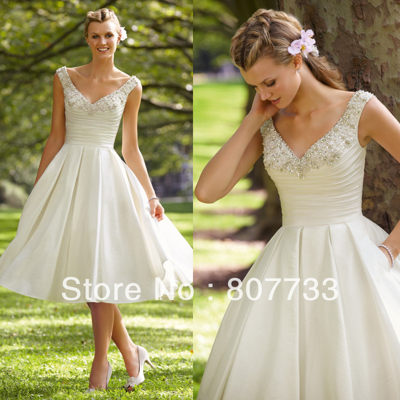 Buy free shipping sexy beaded v neck for Vintage wedding dresses tea length