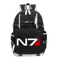 New Game Mass Effect N7 Backpack Black Unisex Shoulder Knapsack Packsack Travel Laptop Bags Student School Bags Bookbag