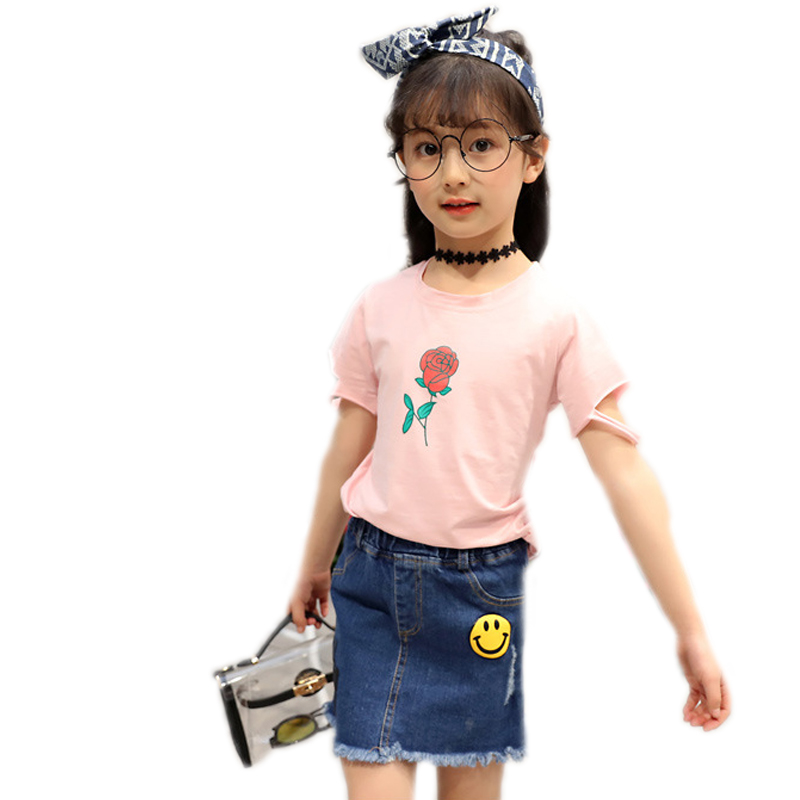 girls summer sets 2017 new children clothing top short sleeve hole floral printed t shirt+printed denim skirts 2pcs kids clothes
