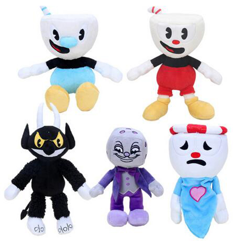 Adventure Game Cuphead Plush Toy Mugman Ms. Chalice Ghost King Dice Cagney Carnantion Plush Dolls Toys For Children Gifts