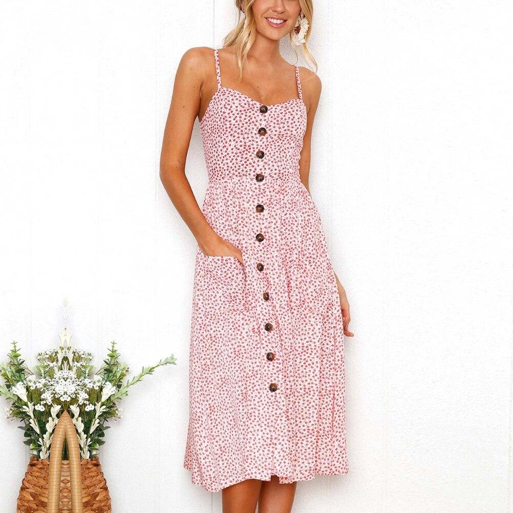 Nova chegada Polka dot mulheres vestido 2019 vestido de verão rosa Botão sukienki damskie midi vestidos tallas ropa de mujer moda