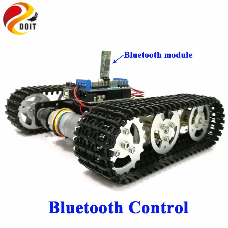 DOIT Bluetooth Control Metal Robot RC Tank Car Chassis Crawler Tracked Robot Competition with UNO R3 Board+Motor Drive Shield diy tracked robot frame model 7 dof abb manipulator tk3a tracked chassis with motor servo control board and xd 229 auno r3