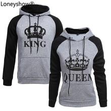 Фотография 2017 KING Queen Crown Print Unisex Men Women Autumn Hoodies Slim Sweatshirt for Couple Lovers Winter Patchwork Hooded Pullovers