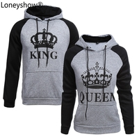 2017 KING Queen Crown Print Unisex Men Women Autumn Hoodies Slim Sweatshirt For Couple Lovers Winter