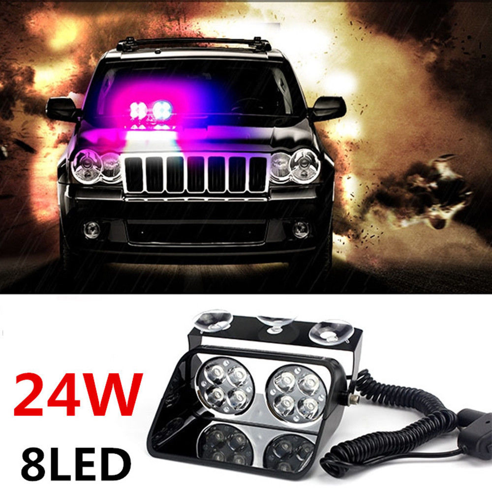CYAN SOIL BAY Car 8 LED Red Blue Police Strobe Flash Light Dash Emergency Flashing Light