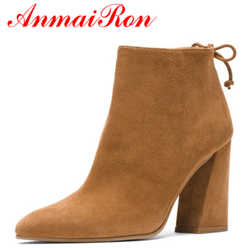 ANMAIRON New High Heels Ankle Boots for Women Motorcycle Boots Pointed Toe Black Shoes Woman Platform Winter Warm Boots Shoes enmayer high heels charms shoes woman classic black shoes round toe platform zippers knee high boots for women motorcycle boots