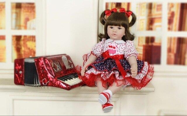 60cm Silicone Reborn Girl Baby Doll Toys 24 Vinyl Princess Toddler Babies Doll Girls Boneca Birthday