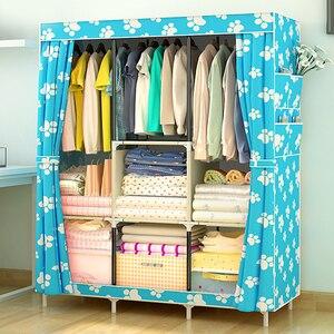 Image 5 - Penderie en tissu à usages multiples vêtement en tissu non tissé, meuble pliable Portable et étanche à la poussière, meuble de rangement pour vêtements