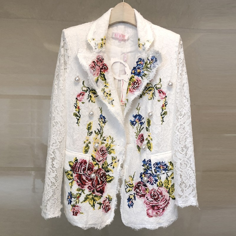 2018 Runway Blazer Women Long Sleeve Notched Flower Embroidery Lace coats Pearls Blazer Shawl Collar Pocket Floral Jackets Coat