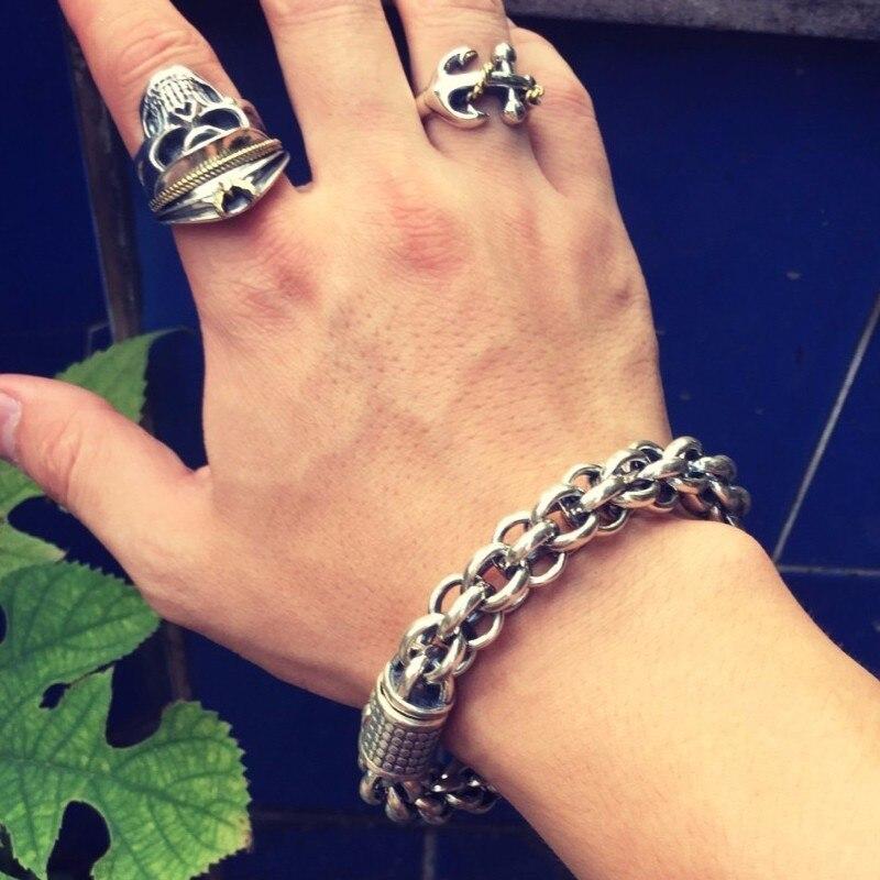 925-Sterling-Silver-Link-Chain-Thick-Men-Bracelet-Vintage-Thailand-Handmade-Punk-Rock-Biker-Jewelry (3)