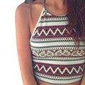 Women Boho Tank Tops Bustier Bra Geometric print Vest Crop Bralette Shirt Blouse Cami Cropped Feminino Halter Top Blusa Dec6