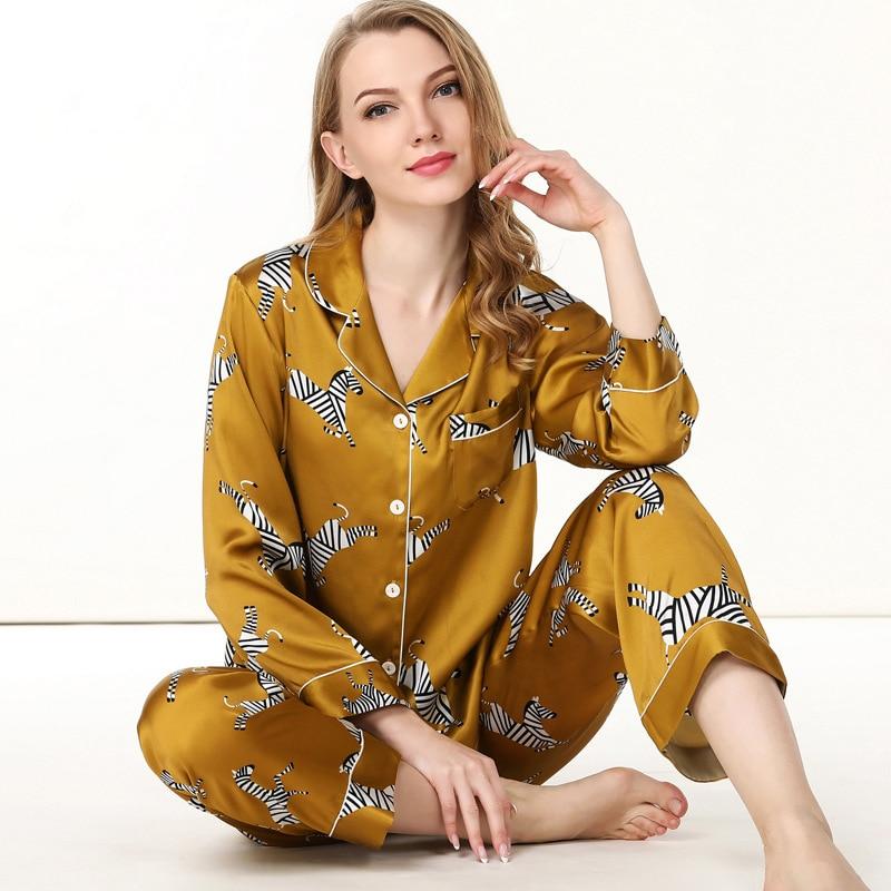 Golden Zebra 100% Silk Pajamas Sets Women Elegant Long Sleeve Sexy Pyjamas Sets Women Noble Pure Color Ladies Silk Sleepwear