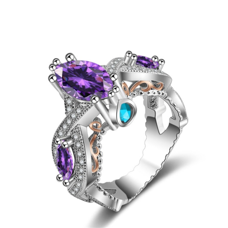 Engagement Ring Memorial Day Sale: Luxury CZ Crystal Rings Fashion Carved Charms Rings For