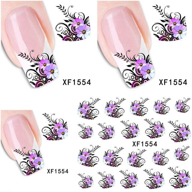 1 Aheet XF1554 Transfert de L'eau de Filigrane Conception Pourpre Fleurs Style Européen Conseil Nail Art Sticker Nails Decal Manucure Outils