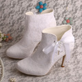 Made To Order High Heel White Lace Summer Wedding Bridal Boots Ankle Short