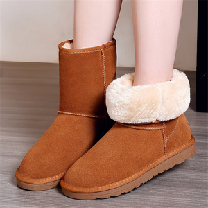 Image 4 - Genuine Leather cowhide Womens Snow Boots 2020 New winter Plush Fur Warm Shoes lady casual winter leather cotton boots 35 40
