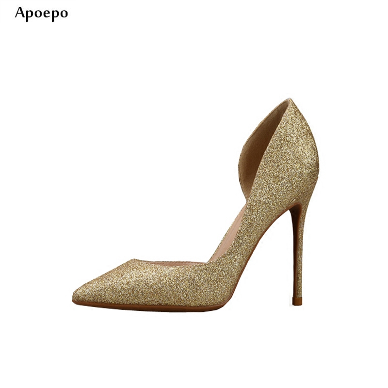 New Pointed Toe Cutouts High Heels Glitter Embellished Sexy Wedding Heels Woman Stiletto Heels Office Lady Thin Heels Shoes new stylish designer lady high heels shoes pointed toe concise slip on office career shoes woman string metal bead shoe edge