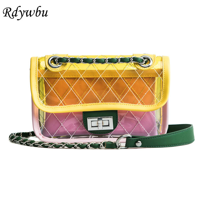 Rdywbu Brand Women Transparent Plaid Chain Shoulder Bag Clear Candy Jelly Chain Crossbody Handbag Fashion PU Leather Bolsa B329 rdywbu brand genuine leather tote handbag 2017 women colourful flowers patchwork shoulder bag plaid messenger crossbody bag b293
