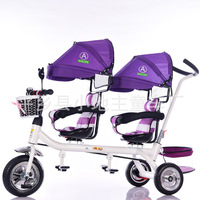 Kids tricycle twins baby bicycle 2 seat fold pedal