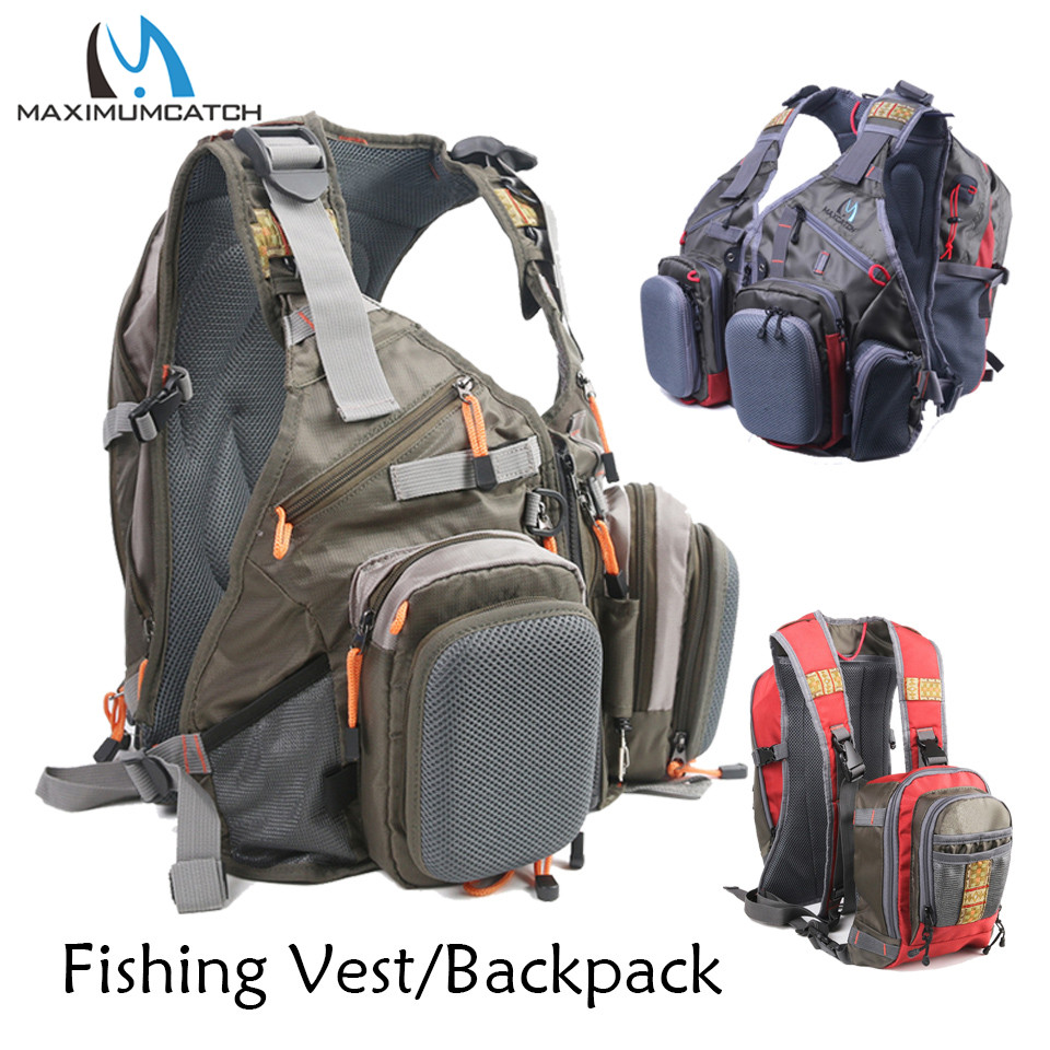Maximumcatch Fly Fishing Vest Backpack with Multifunction Pockets Adjustable Outdoor Sports Mesh Fishing Bag with Tools outdoor sports pockets sv012199