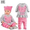 ÉL Hola Disfrutar de Bebé ropa de las muchachas 2016 Otoño gato rosa ropa para bebés de Manga Larga niños set baby girl outfit