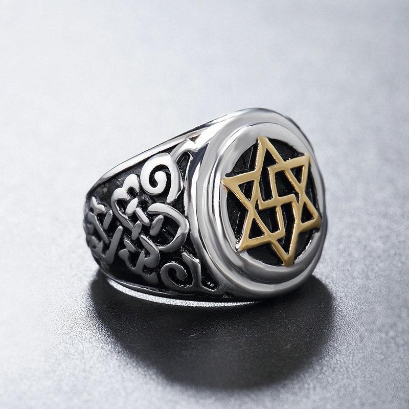 Amgjek 20mm Punk Jodendom Hexagram Biker Ring Religieuze