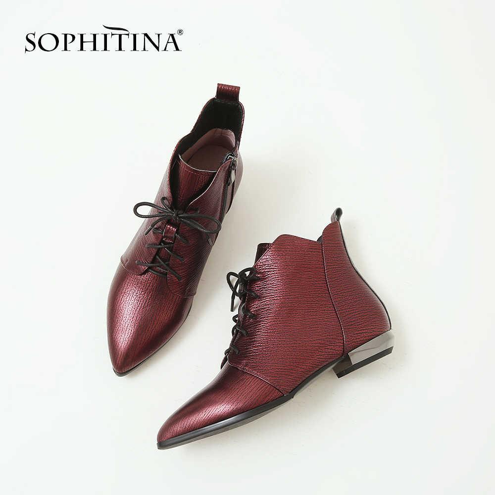 SOPHITINA Sivri Burun yarım çizmeler Şarap Kırmızı Hakiki Deri Moda Kadın Ayakkabı Kare Topuk Fermuar tasarım Bayan Botları PO63-6
