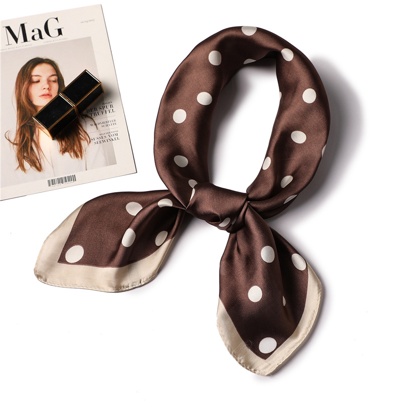 2020 Fashion Dot Print Silk Scarf For Women Small Square Scarves Hijabs Foulard Neck Hand Tie Band Office Foulard Scarfs