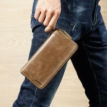 New Business wallet men fashion long cion pocket Clutch purse Casual Zipper bag
