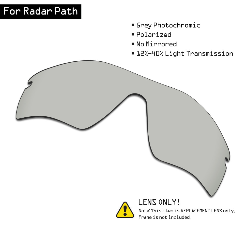 SmartVLT Polarized Sunglasses Replacement Lenses For Oakley Radar Path - Grey Photochromic