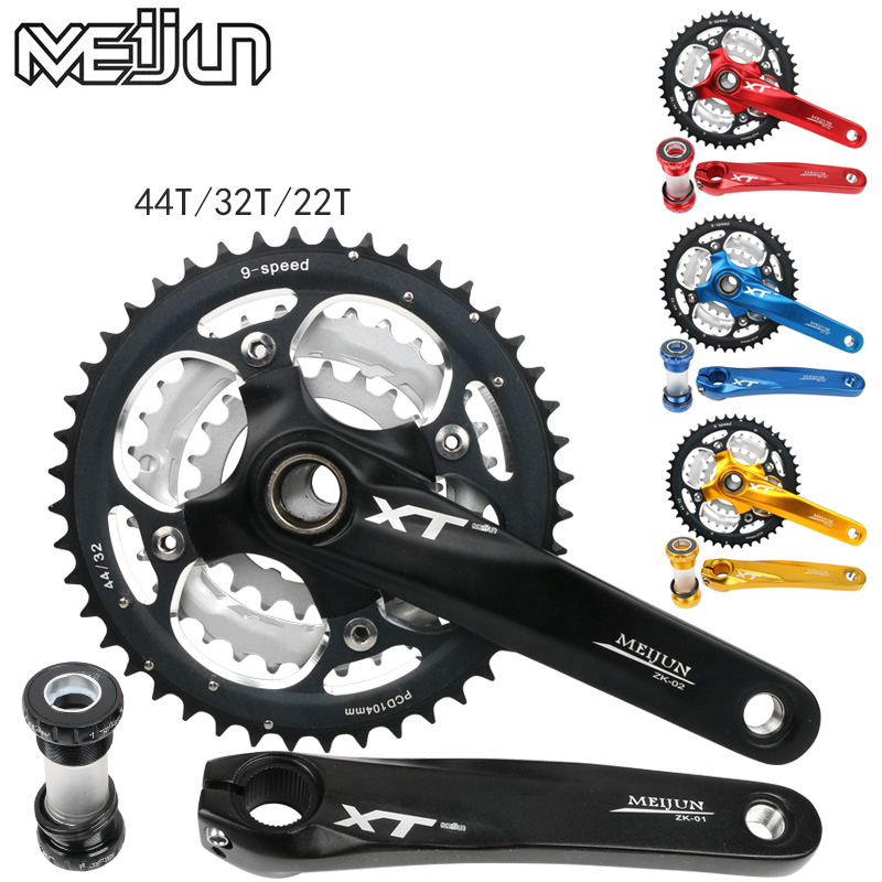 Mountain bike / 27-speed 9-speed hollow chainring crankset bicycle gear distribution a hollow bottom bracket BB mtb mountain bike crankset bicycle crank set chain wheel 22 32 42t single speed fixed gear fixie bike crankset