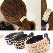 Hot Fashionable Luxury Cute Women Gold Chain Hair Clip Hair Barrette Ponytail Holder  4D7C 7EGC