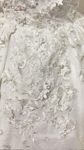 Image 5 - VARBOO_ELSA 2018 Luxury White Lace 3D Appliques Wedding Dresses Custom Bridal Wedding Gown Pearls Wedding Dress vestido de noiva