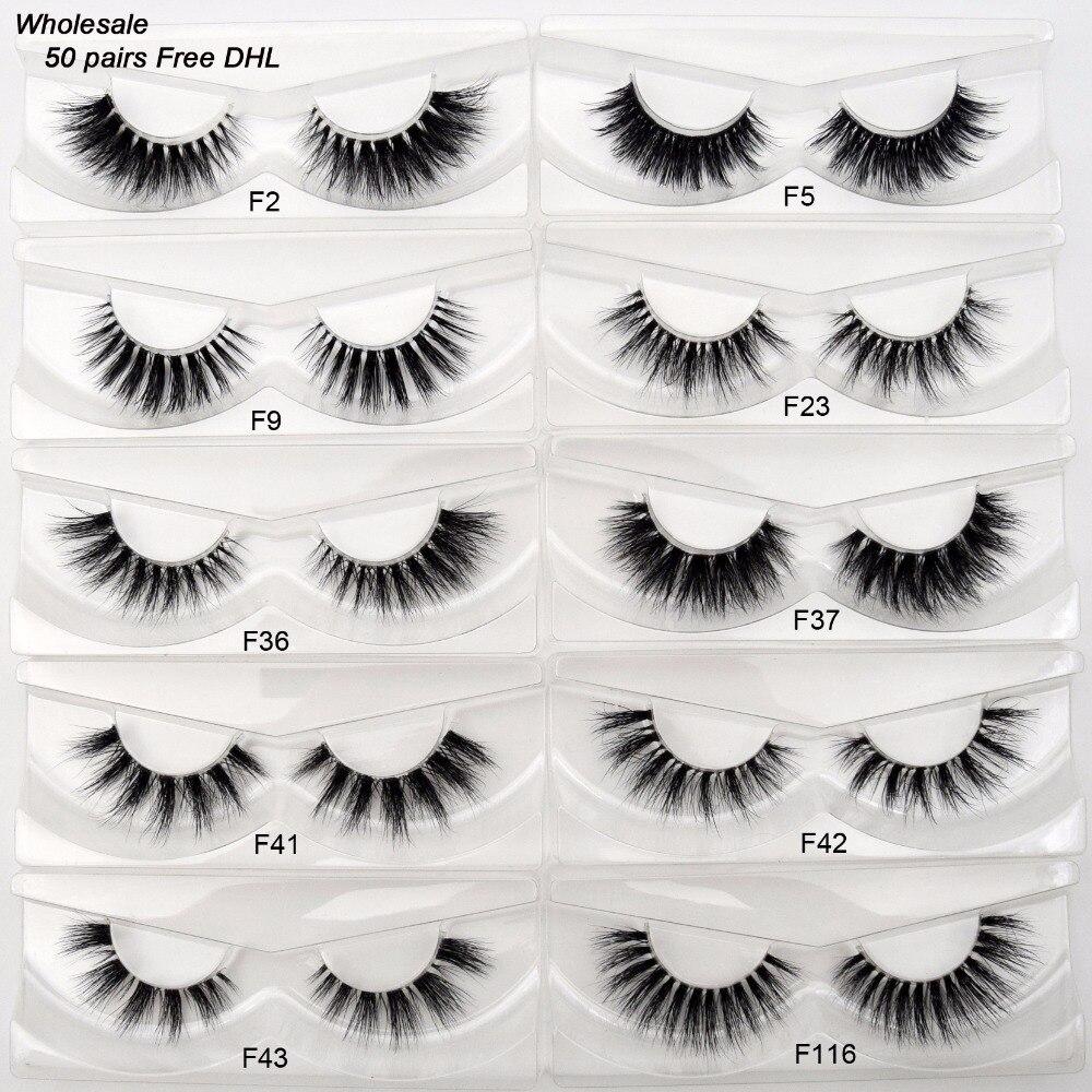 Free DHL 50 Pairs Visofree Eyelashes Transparent Band Mink Lashes Handmade Invisible Band Mink Fake Eyelashes Wholesale 17 Style