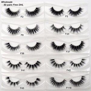 Image 1 - Free DHL 50 pairs Visofree Eyelashes Transparent Band Mink Lashes Handmade Invisible Band Mink Fake Eyelashes Wholesale 17 style