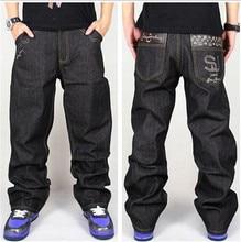Джинсы мужчины багги черный свободного покроя рэп джинсы без тары брюки хип-хоп без тары стиль хип-хоп джинсы для мальчик большой размер 30 — 42