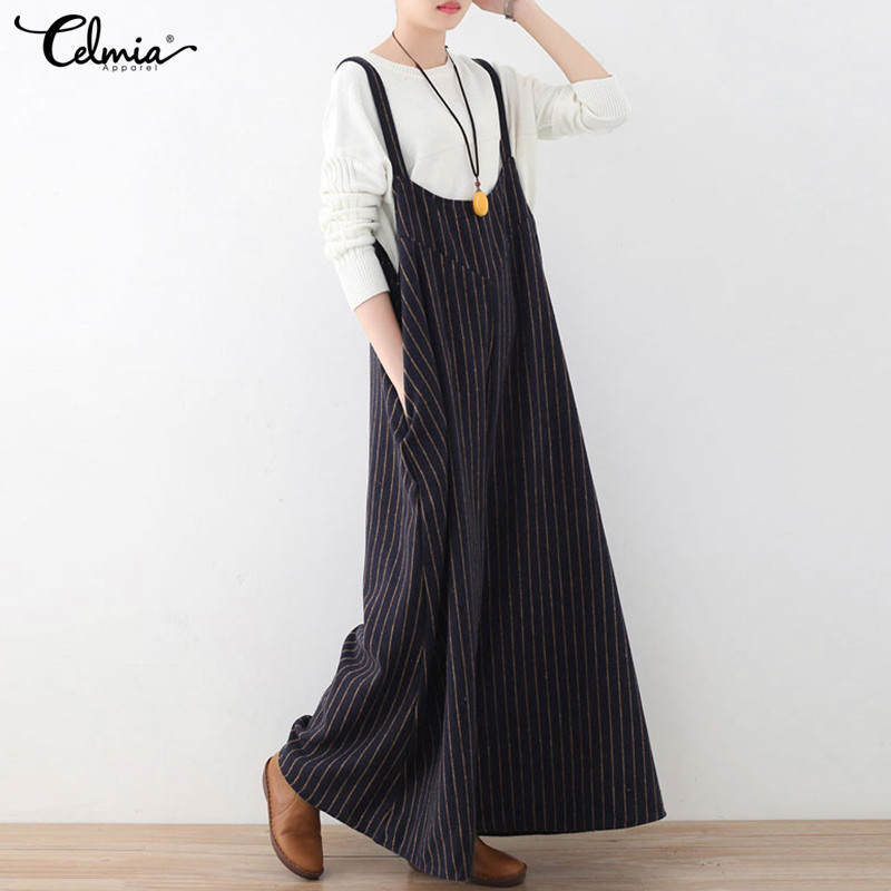 7cbfc40e886 Plus Size S 3XLCelmia 2018 Summer Wide Leg Pants Palazzo Rompers Womens  Jumpsuit Striped Long Playsuit Feamle Suspender Trousers-in Jumpsuits from  Women s ...