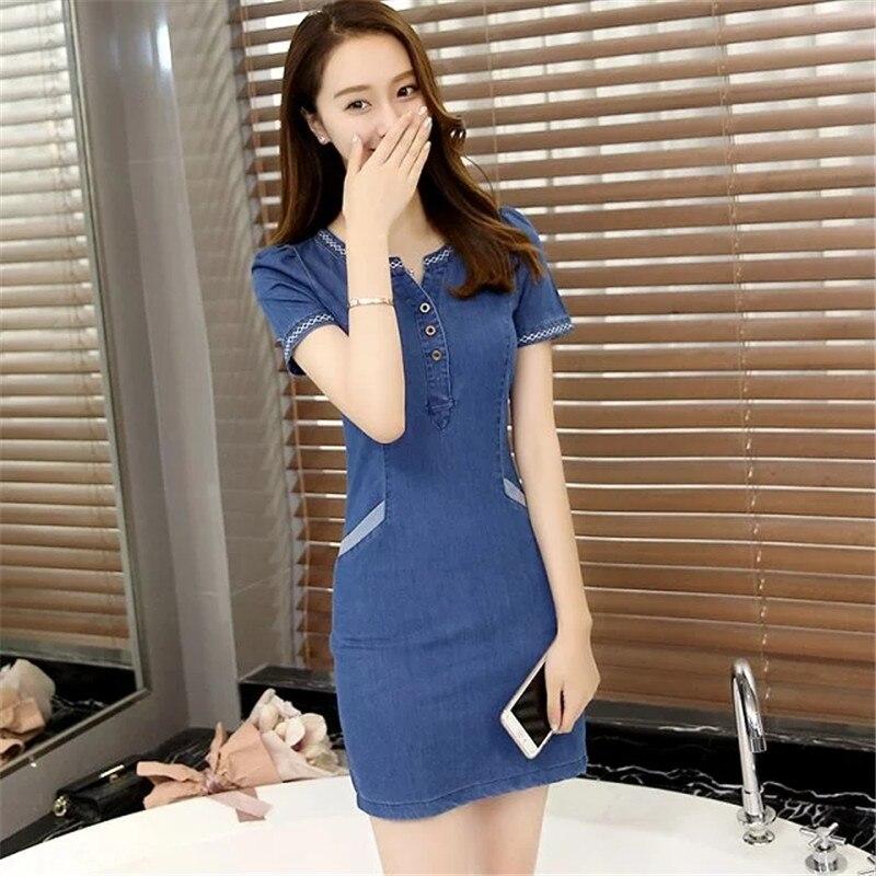 c6b61a7efefe4 US $28.53  THENANBURONE High Quality 2017 Casual Cotton Short Sleeve Denim  Dresses New Summer Blue Dress Hot Sale Women Fashion Jean Dress-in Dresses  ...