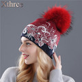 Xthree winter beanies wool knitting hat for women real mink fur pom poms  Skullies girls hat