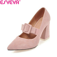ESVEVA 2018 Women Pumps Pointed Toe Sweet Style Suede Square High Heels Elegant Buckle Strap Shallow Ladies Shoes Size 34-43