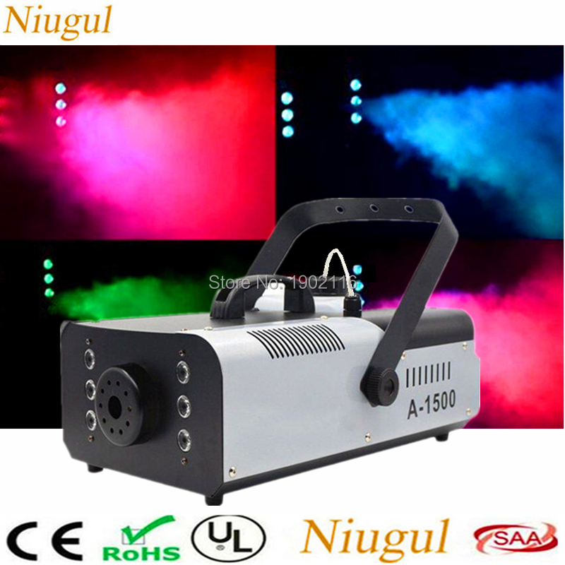 LED 1500W RGB 3in1 Fog Machine 3L Remote and wire control Smoke Machine With 6pcs LED Light Professional Stage Machine DJ Fogger