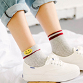 New Korea Women Cotton Two Stripes Socks Cute Smile Socks for students Cartoon Pattern Teenager Girl Flanging Soft sock Spring